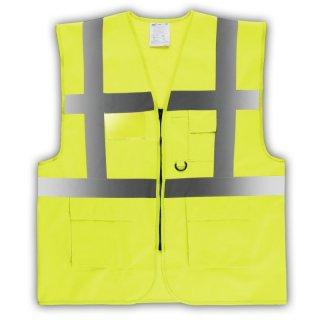 YOKO® Viz Promo Waistcoats Warnweste mit Taschen und Reißverschluss orange//gelb